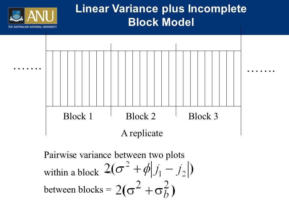 ……. Linear Variance plus Incomplete Block Model A replicate Pairwise variance between two plots within a block = between blocks = Block 1Block 2Block