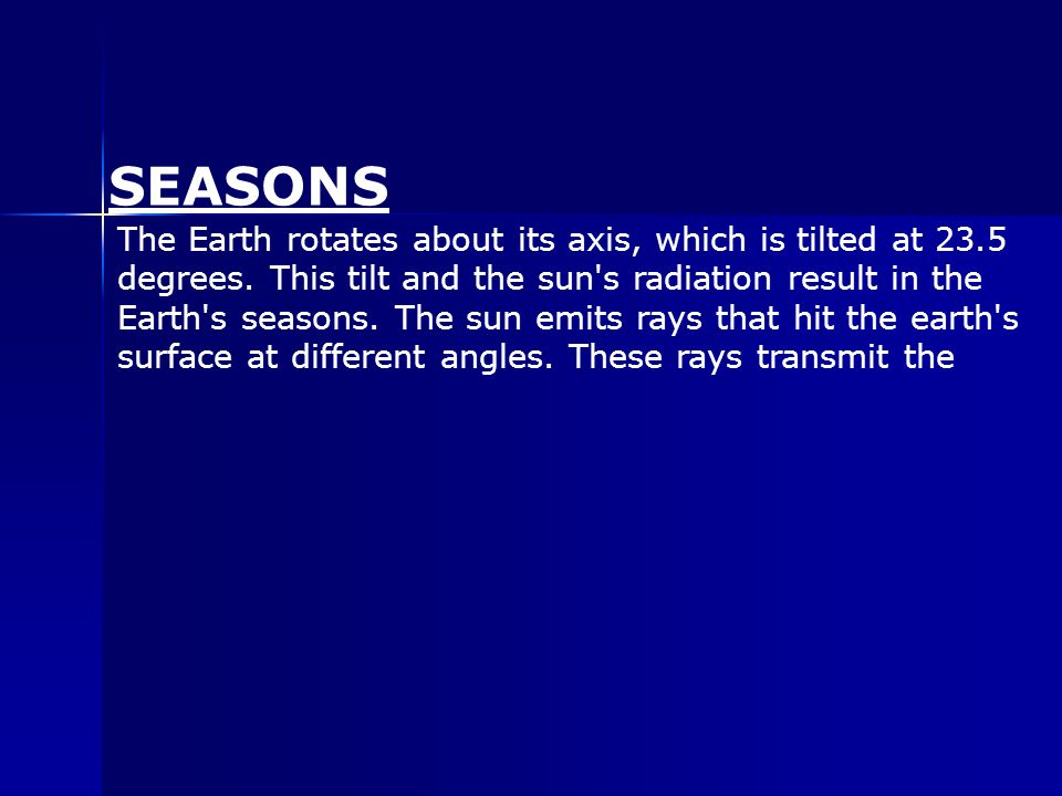 The Earth rotates about its axis, which is tilted at 23.5 degrees.