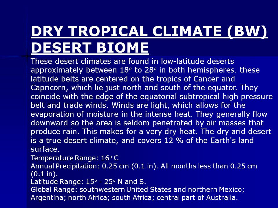 These desert climates are found in low-latitude deserts approximately between 18° to 28° in both hemispheres.