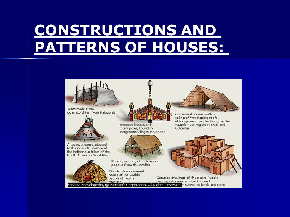 CONSTRUCTIONS AND PATTERNS OF HOUSES: