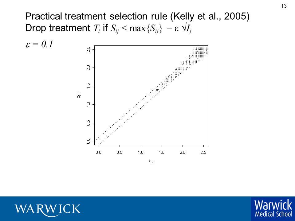 13 Practical  treatment selection rule (Kelly et al., 2005) Drop treatment T i if S ij < max{S ij } –   I j  = 0.1
