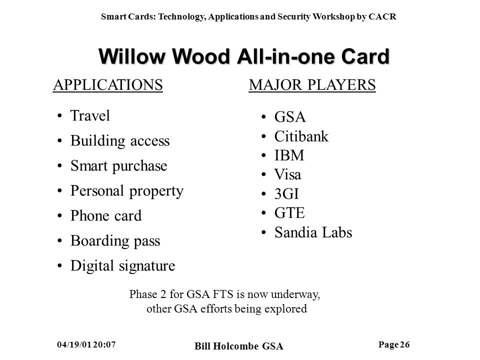 Smart Cards: Technology, Applications and Security Workshop by CACR 04/19/01 20:07John Moore - GSAPage 25 After Before Government ID Travel Card American Airlines Ticketing Phone Card Purchase Card Willow Wood All-in-one Card Bill Holcombe GSA