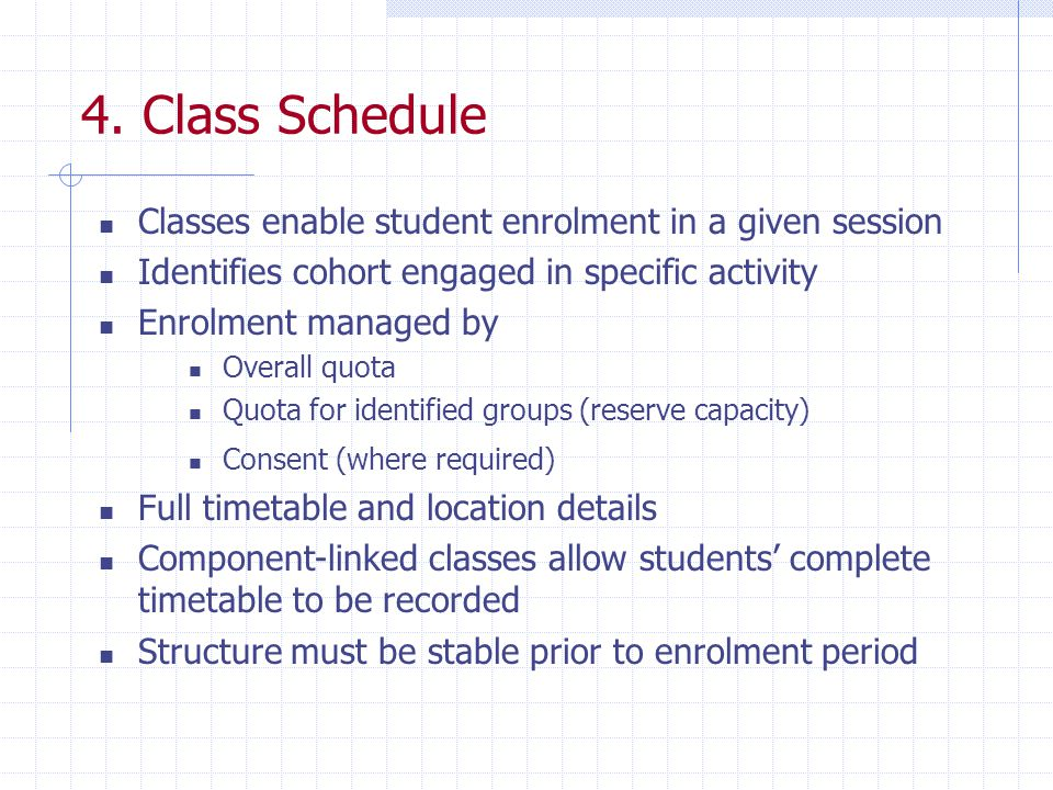 4. Class Schedule Classes enable student enrolment in a given session Identifies cohort engaged in specific activity Enrolment managed by Overall quot