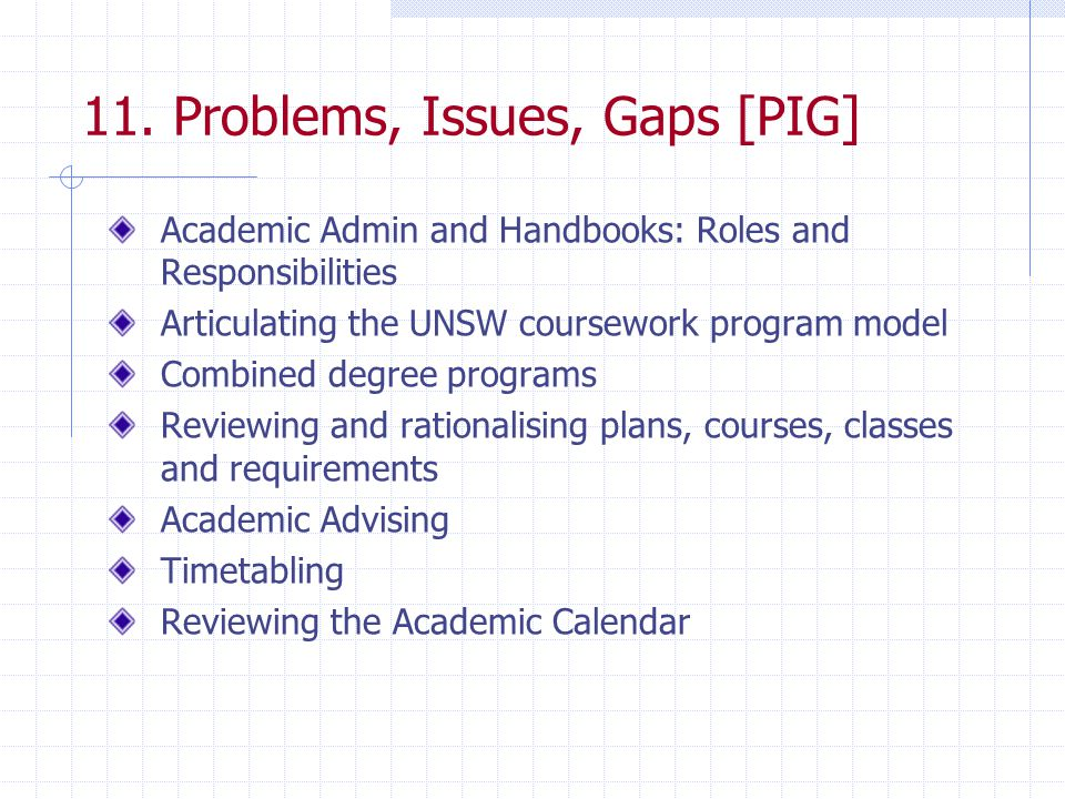 11. Problems, Issues, Gaps [PIG] Academic Admin and Handbooks: Roles and Responsibilities Articulating the UNSW coursework program model Combined degr