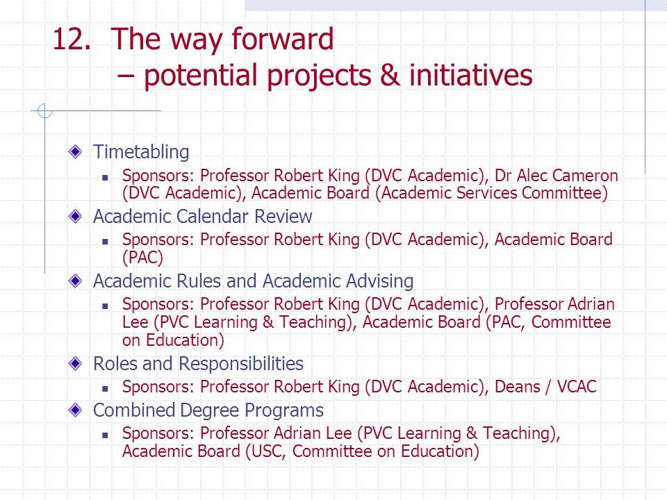 12. The way forward – potential projects & initiatives Timetabling Sponsors: Professor Robert King (DVC Academic), Dr Alec Cameron (DVC Academic), Aca