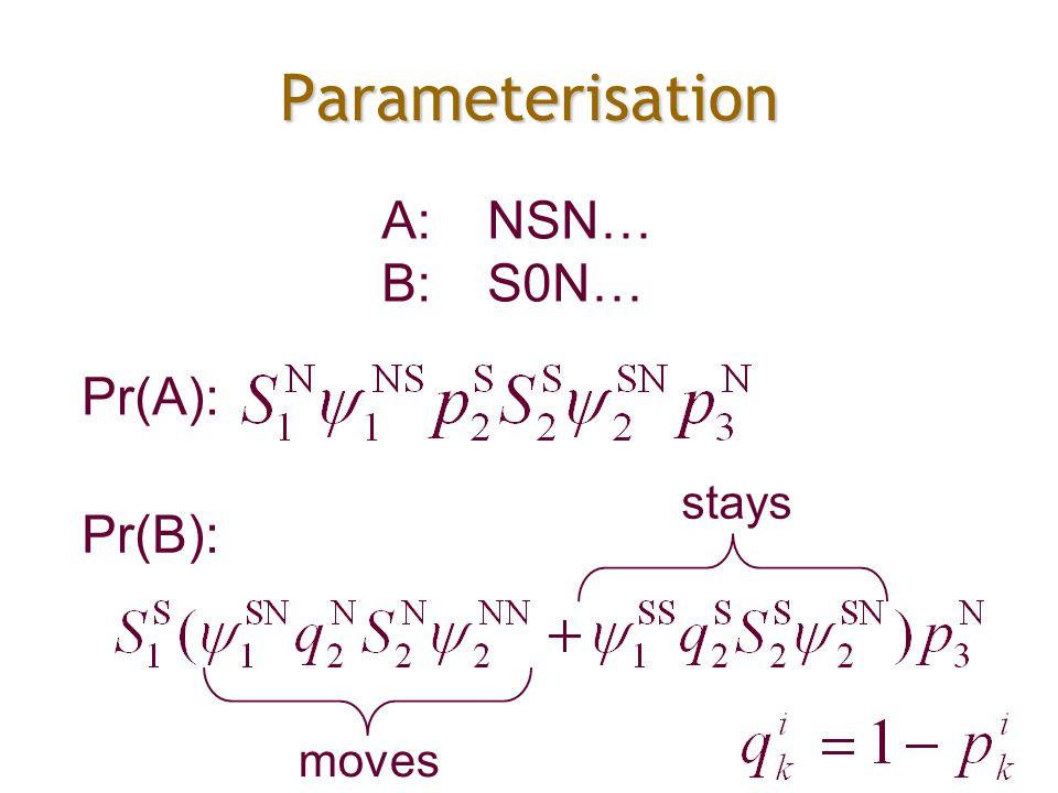 Parameterisation A:NSN… B:S0N… Pr(A): Pr(B): moves stays