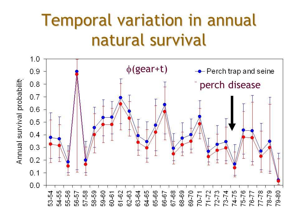 Temporal variation in annual natural survival  (gear+t) perch disease