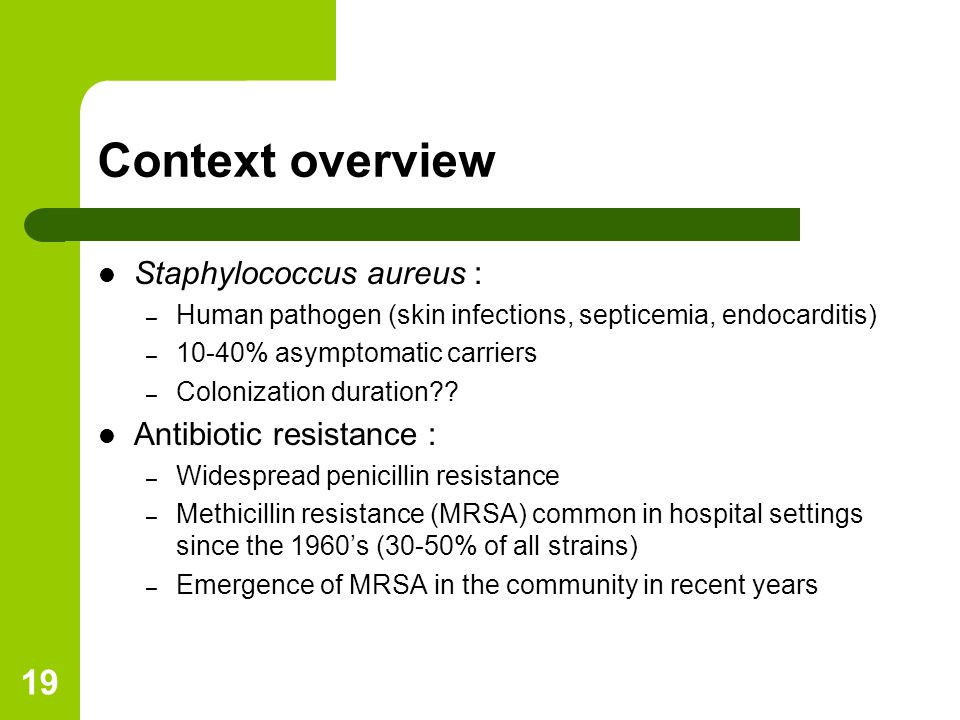 19 Context overview Staphylococcus aureus : – Human pathogen (skin infections, septicemia, endocarditis) – 10-40% asymptomatic carriers – Colonization duration?.