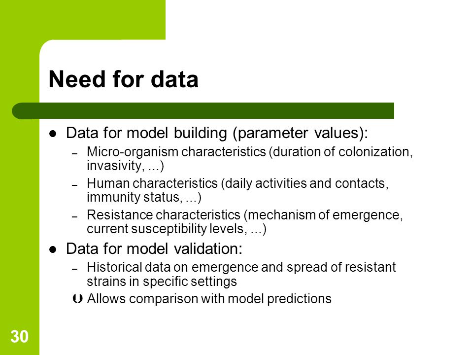 30 Need for data Data for model building (parameter values): – Micro-organism characteristics (duration of colonization, invasivity,...) – Human characteristics (daily activities and contacts, immunity status,...) – Resistance characteristics (mechanism of emergence, current susceptibility levels,...) Data for model validation: – Historical data on emergence and spread of resistant strains in specific settings  Allows comparison with model predictions