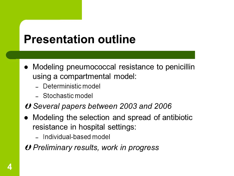 5 I- Modeling the selection of pneumococcal resistance to penicillin in France A deterministic model (Temime L, Boëlle PY, Courvalin P, Guillemot D; Emerg Infect Dis, 2003)