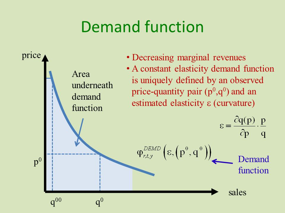 Demand function Area underneath demand function Decreasing marginal revenues A constant elasticity demand function is uniquely defined by an observed price-quantity pair (p 0,q 0 ) and an estimated elasticity  (curvature) price sales Demand function q 00 p0p0 q0q0