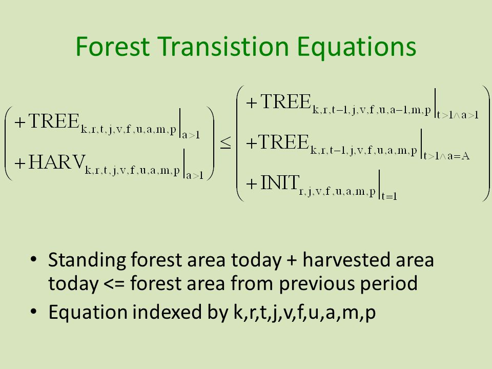 Forest Transistion Equations Standing forest area today + harvested area today <= forest area from previous period Equation indexed by k,r,t,j,v,f,u,a,m,p