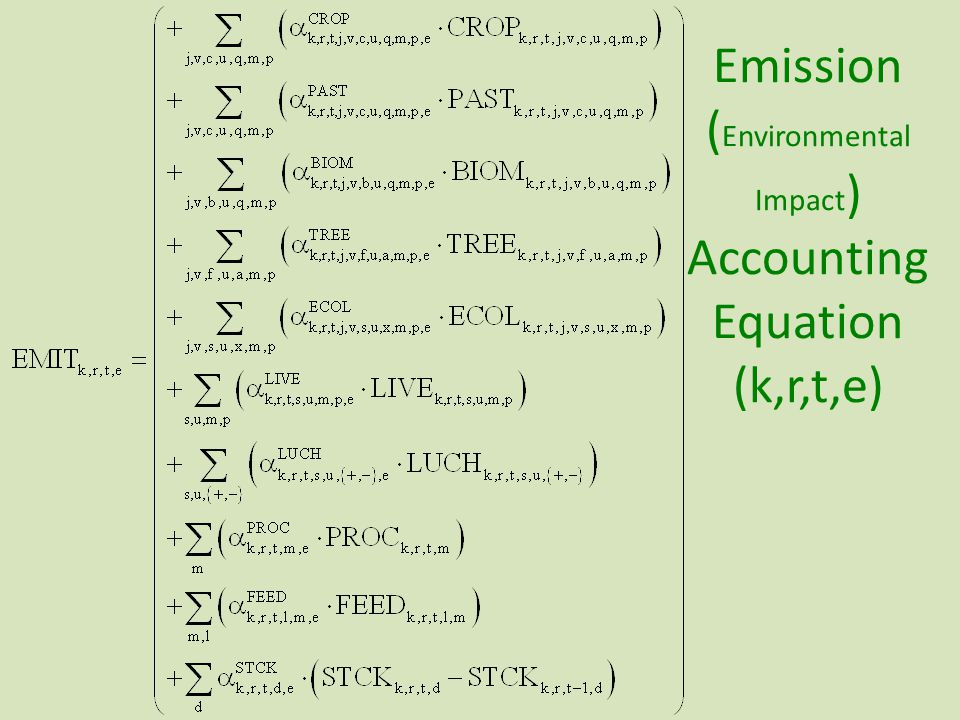 Emission ( Environmental Impact ) Accounting Equation (k,r,t,e)