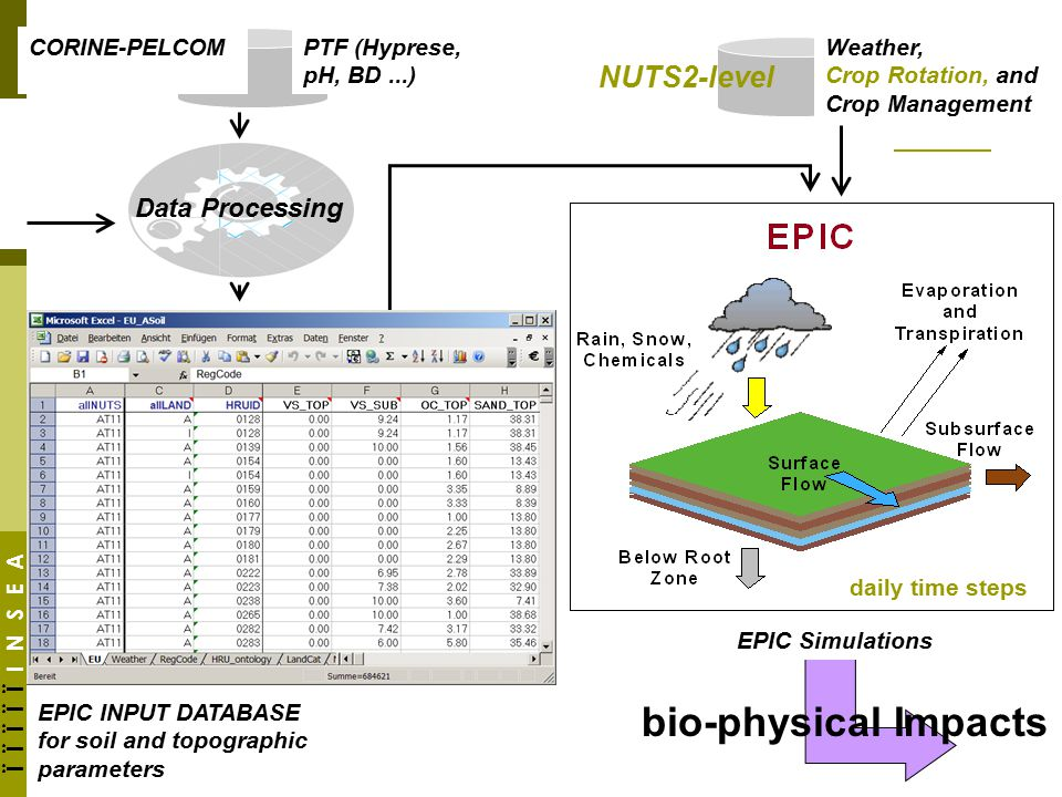 Ϊ Ϊ Ϊ Ϊ Ϊ I N S E A PTF (Hyprese, pH, BD...) Data Processing EPIC INPUT DATABASE for soil and topographic parameters EPIC Simulations daily time steps Weather, Crop Rotation, and Crop Management bio-physical Impacts CORINE-PELCOM NUTS2-level