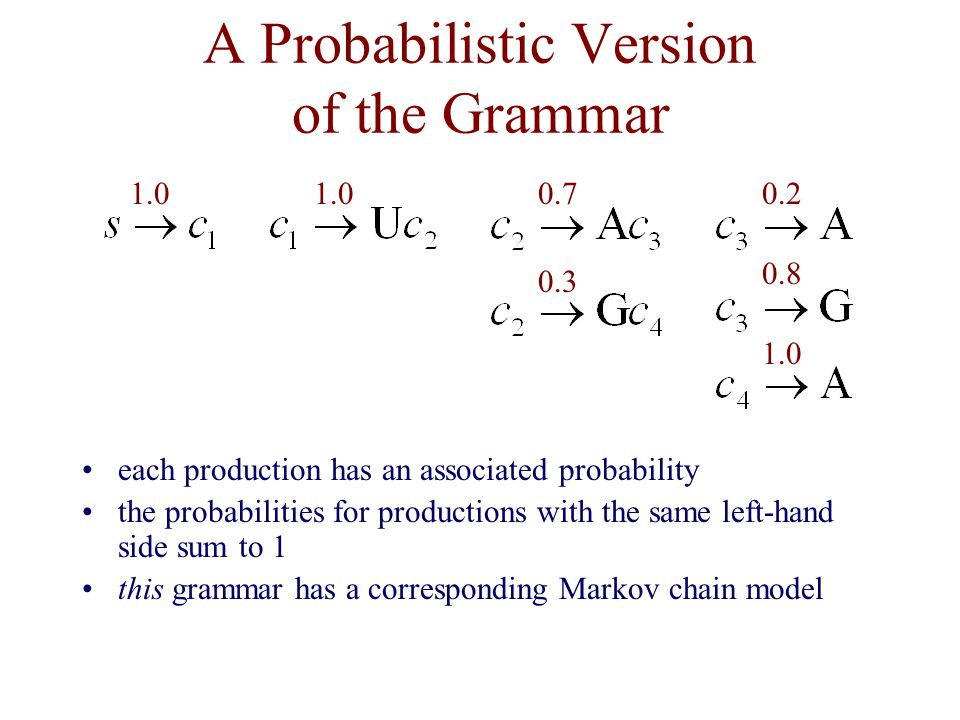 A Probabilistic Version of the Grammar each production has an associated probability the probabilities for productions with the same left-hand side sum to 1 this grammar has a corresponding Markov chain model 1.0 0.7 0.3 1.0 0.2 0.8
