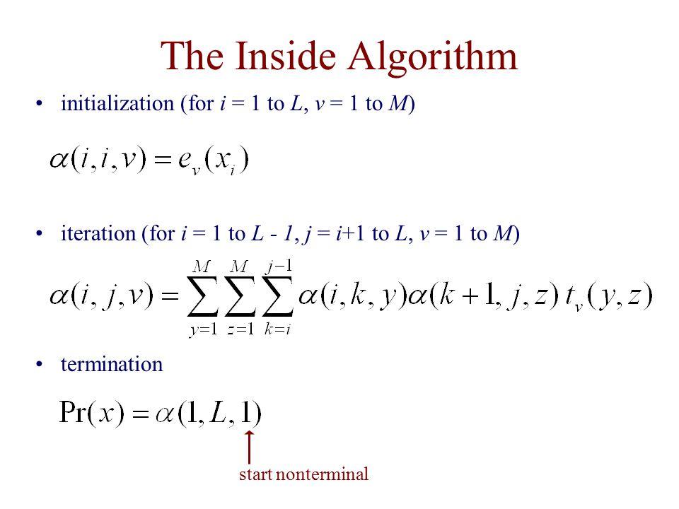 The Inside Algorithm initialization (for i = 1 to L, v = 1 to M) iteration (for i = 1 to L - 1, j = i+1 to L, v = 1 to M) termination start nontermina