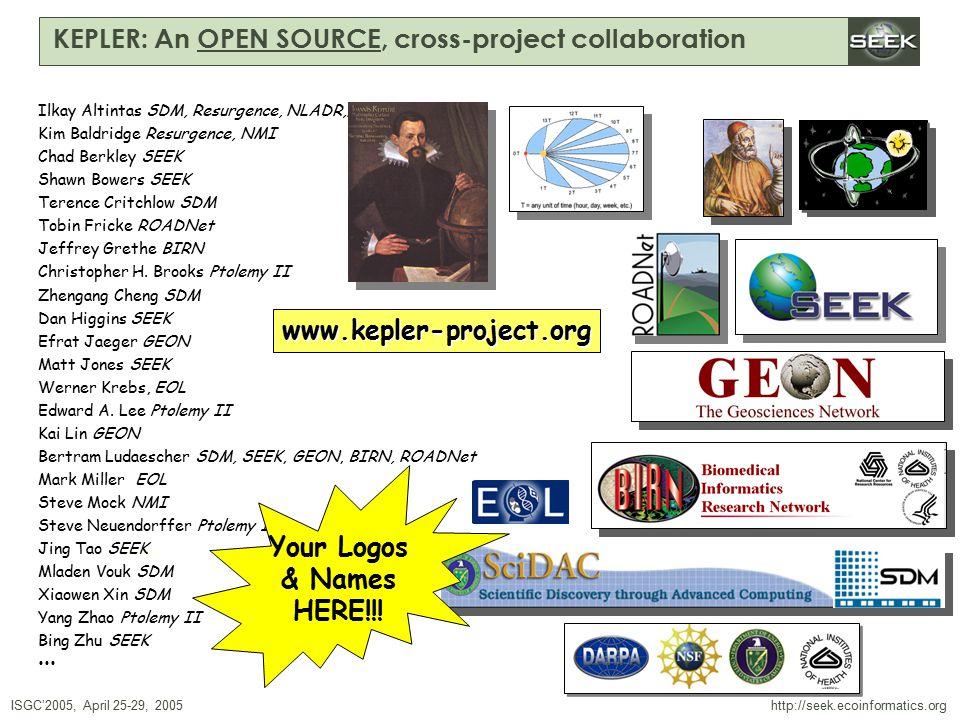ISGC'2005, April 25-29, 2005 SWDBAug 29, 2004 http://seek.ecoinformatics.org KEPLER: An OPEN SOURCE, cross-project collaboration Ilkay Altintas SDM, Resurgence, NLADR,… Kim Baldridge Resurgence, NMI Chad Berkley SEEK Shawn Bowers SEEK Terence Critchlow SDM Tobin Fricke ROADNet Jeffrey Grethe BIRN Christopher H.