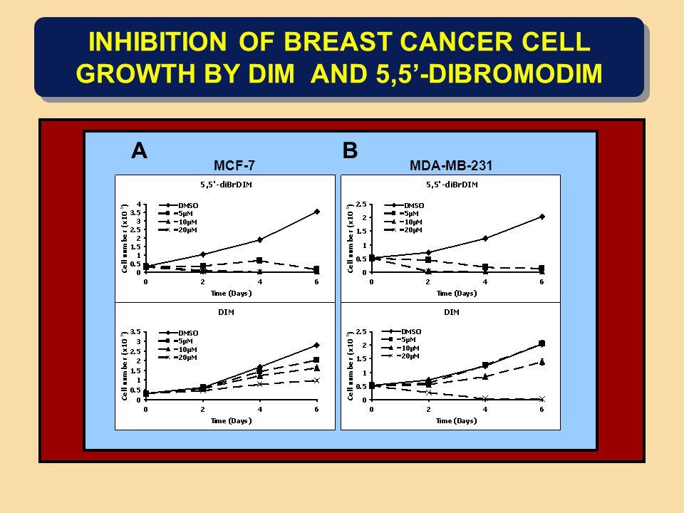 INHIBITION OF BREAST CANCER CELL GROWTH BY DIM AND 5,5'-DIBROMODIM MCF-7 MDA-MB-231 AB