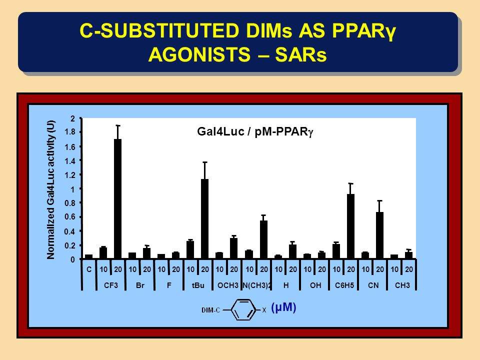 C-SUBSTITUTED DIMs AS PPARγ AGONISTS – SARs Gal4Luc / pM-PPAR  0 0.2 0.4 0.6 0.8 1 1.2 1.4 1.6 1.8 2 C10201020102010201020102010201020102010201020 CF3BrFtBuOCH3N(CH3)2HOHC6H5CNCH3 Normalized Gal4Luc activity (U) (μM)