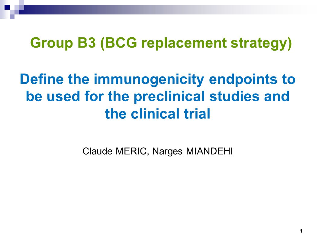 This definition is based on information or the immunological correlates of protection proposed by group B1 to be used for groups B4 and B5 2  Which immunogenicity assays (T and/or B cell assays) should be utilized for the preclinical studies and the clinical trial ;  A detailed description of the assays selected, including the limitations and advantages of the assays ;  The results expected.