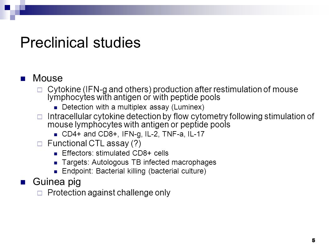 Preclinical studies Mouse  Cytokine (IFN-g and others) production after restimulation of mouse lymphocytes with antigen or with peptide pools Detection with a multiplex assay (Luminex)  Intracellular cytokine detection by flow cytometry following stimulation of mouse lymphocytes with antigen or peptide pools CD4+ and CD8+, IFN-g, IL-2, TNF-a, IL-17  Functional CTL assay ( ) Effectors: stimulated CD8+ cells Targets: Autologous TB infected macrophages Endpoint: Bacterial killing (bacterial culture) Guinea pig  Protection against challenge only 5