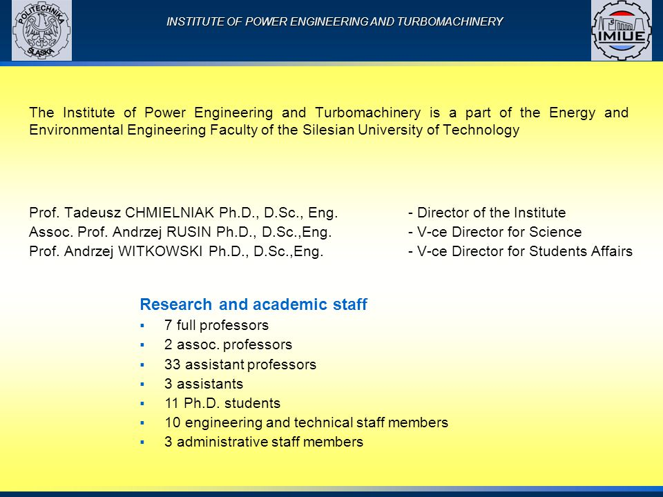 INSTITUTE OF POWER ENGINEERING AND TURBOMACHINERY Prof.