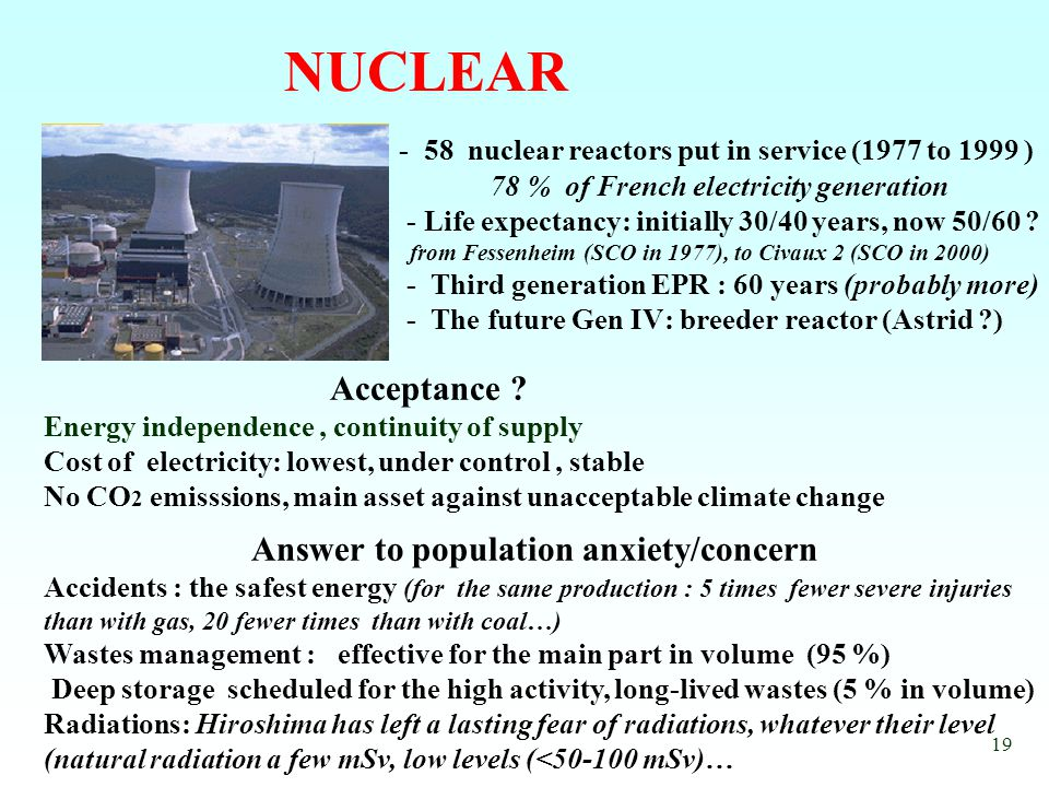 19 NUCLEAR - 58 nuclear reactors put in service (1977 to 1999 ) 78 % of French electricity generation - Life expectancy: initially 30/40 years, now 50/60 .