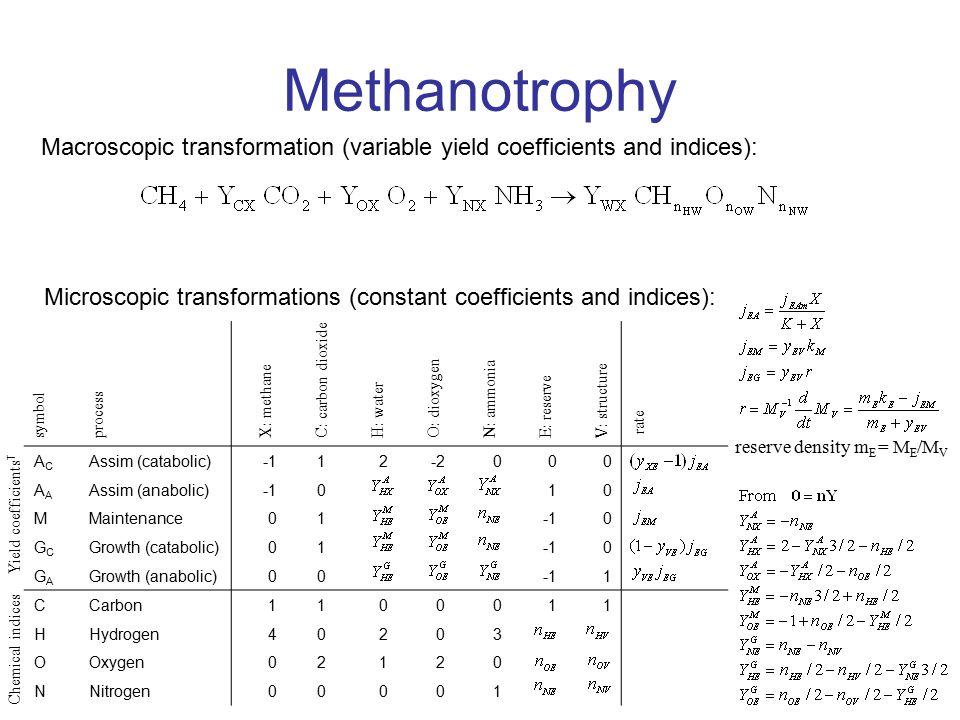 Methanotrophy spec growth rate, h -1 X/O N/O C/O flux ratio, mol.mol -1 spec flux, mol.mol -1.h -1 C E N X O X: methane C: carbon dioxide O: dioxygen N: ammonia E: reserve j EAm = 1.2 mol.mol -1.h -1 y EX = 0.8 y VE = 0.8 k M = 0.01 h -1 k E = 2 h -1 n HE = 1.8 n OE = 0.3 n NE = 0.3 n HV = 1.8 n OV = 0.3 n NV = 0.3 chemical indices Kooijman et al, 2004 Ecology, 85, 1230-1243