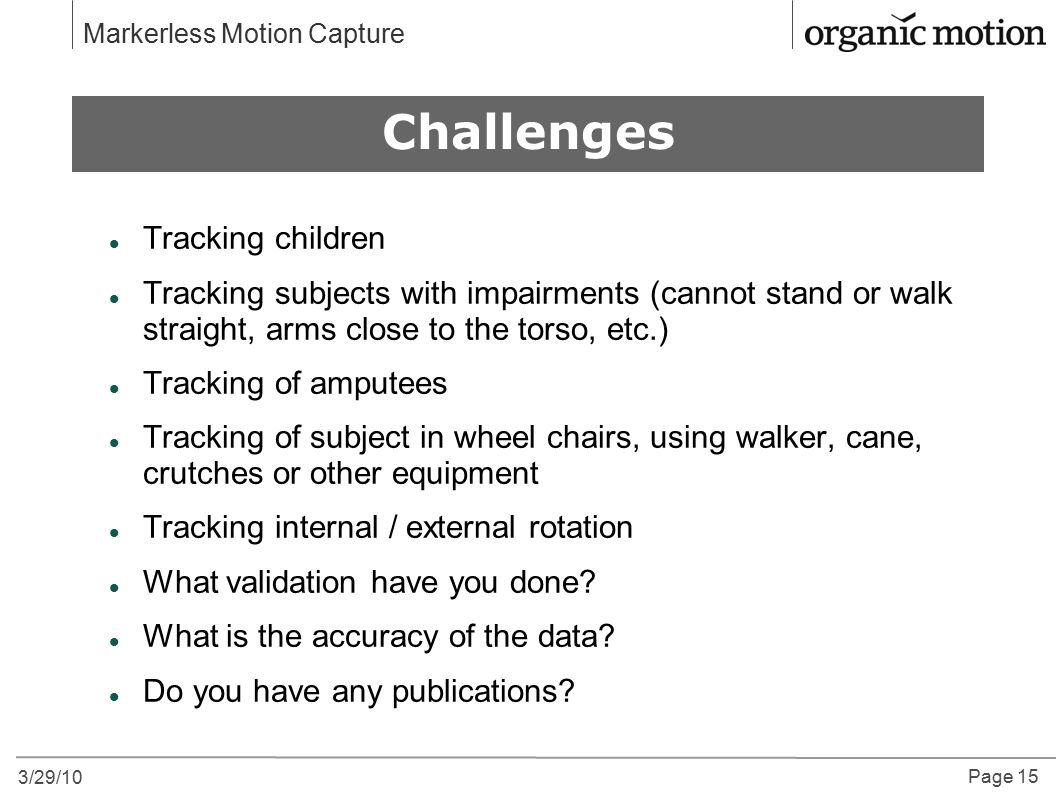 3/29/10 Page 15 Markerless Motion Capture Why Motion Capture?Why Motion Capture.