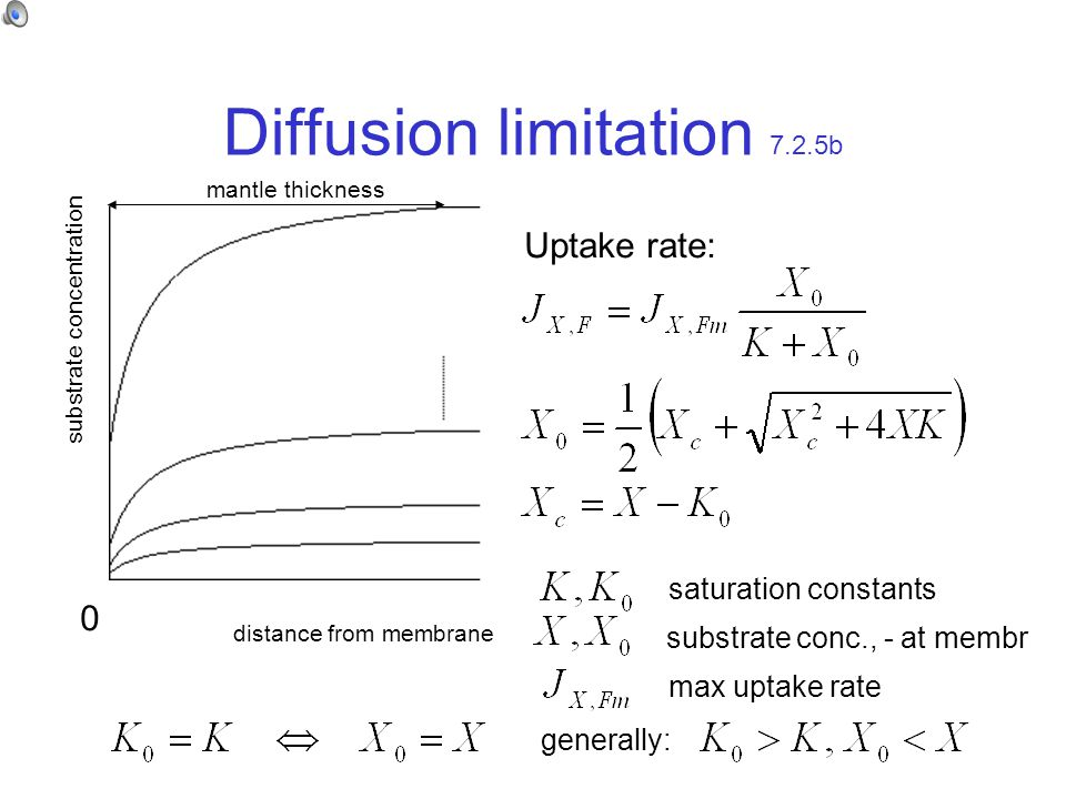 Diffusion limitation 7.2.5b distance from membrane substrate concentration Uptake rate: saturation constants substrate conc., - at membr max uptake rate 0 generally: mantle thickness