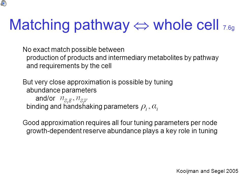 Matching pathway  whole cell 7.6g No exact match possible between production of products and intermediary metabolites by pathway and requirements by the cell But very close approximation is possible by tuning abundance parameters and/or binding and handshaking parameters Good approximation requires all four tuning parameters per node growth-dependent reserve abundance plays a key role in tuning Kooijman and Segel 2005