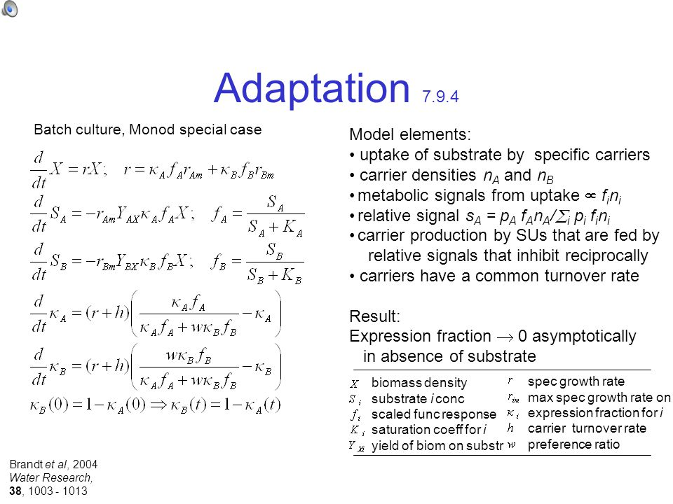 Adaptation 7.9.4 Batch culture, Monod special case Model elements: uptake of substrate by specific carriers carrier densities n A and n B metabolic signals from uptake  f i n i relative signal s A = p A f A n A /  i p i f i n i carrier production by SUs that are fed by relative signals that inhibit reciprocally carriers have a common turnover rate Result: Expression fraction  0 asymptotically in absence of substrate biomass density substrate i conc scaled func response saturation coeff for i yield of biom on substr spec growth rate max spec growth rate on i expression fraction for i carrier turnover rate preference ratio Brandt et al, 2004 Water Research, 38, 1003 - 1013
