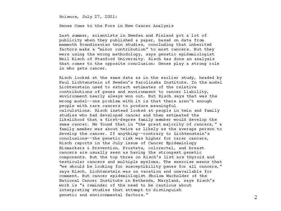 3 The papers in brief Lichtenstein et al (2000).