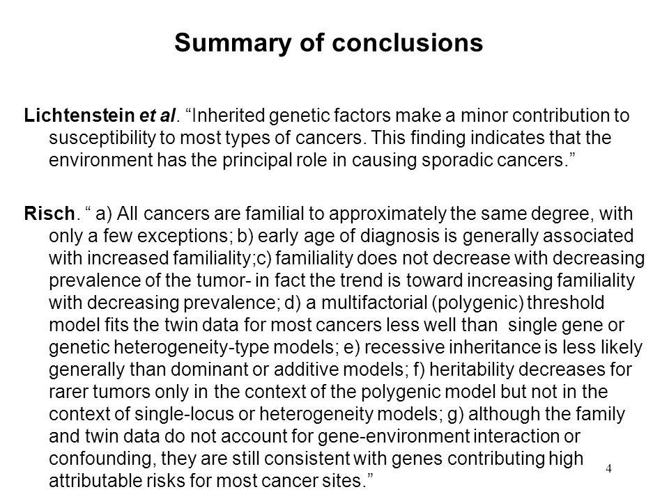 4 Summary of conclusions Lichtenstein et al.