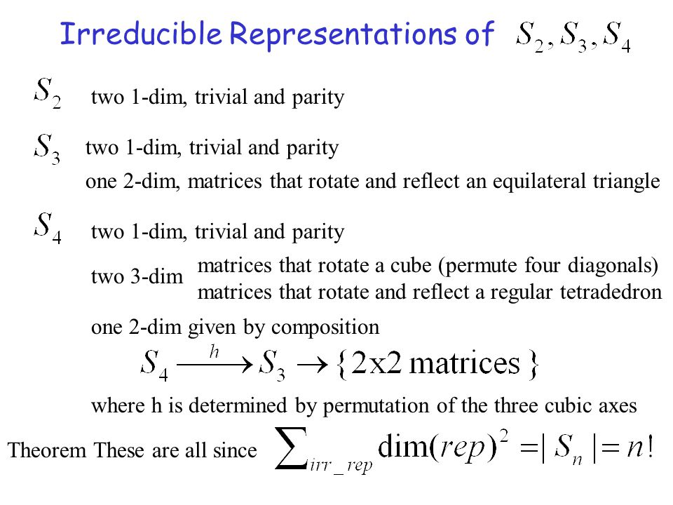 Irreducible Representations of two 1-dim, trivial and parity one 2-dim, matrices that rotate and reflect an equilateral triangle two 1-dim, trivial an
