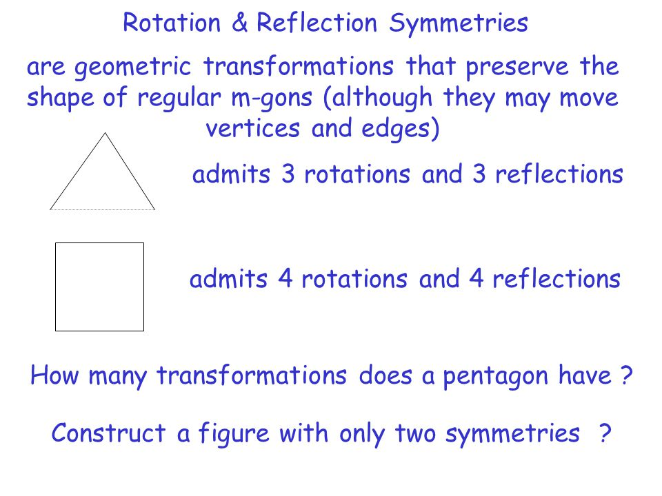 Rotation & Reflection Symmetries are geometric transformations that preserve the shape of regular m-gons (although they may move vertices and edges) a
