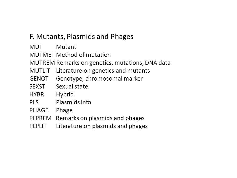 F. Mutants, Plasmids and Phages MUT Mutant MUTMET Method of mutation MUTREM Remarks on genetics, mutations, DNA data MUTLIT Literature on genetics and