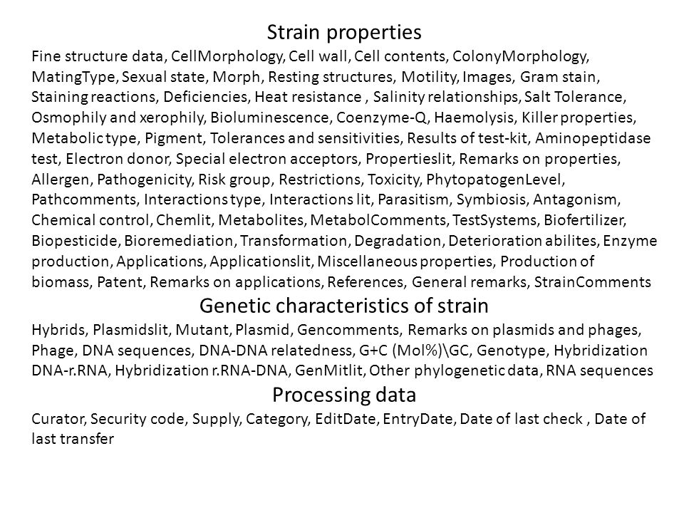 Strain properties Fine structure data, CellMorphology, Cell wall, Cell contents, ColonyMorphology, MatingType, Sexual state, Morph, Resting structures
