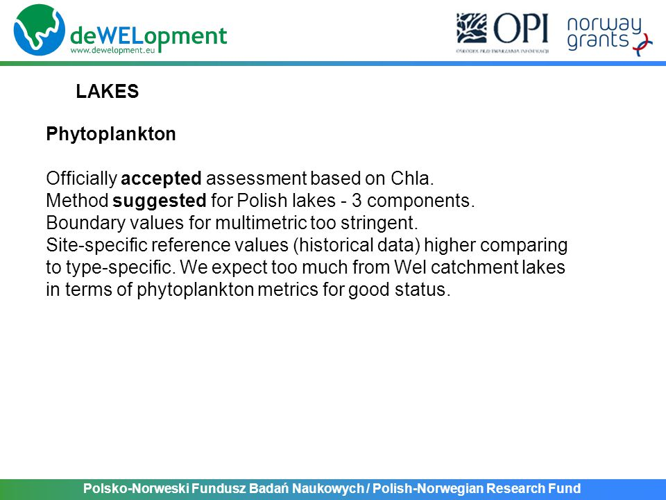 Polsko-Norweski Fundusz Badań Naukowych / Polish-Norwegian Research Fund LAKES Phytoplankton Officially accepted assessment based on Chla. Method sugg