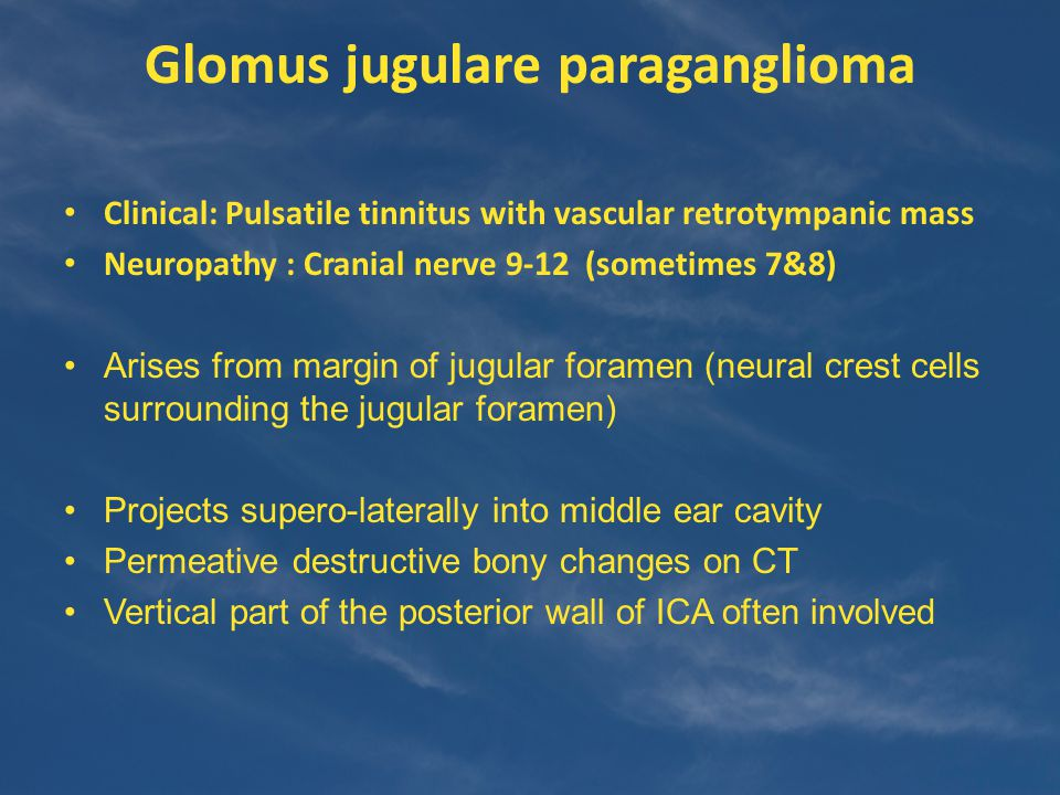 Glomus jugulare paraganglioma Clinical: Pulsatile tinnitus with vascular retrotympanic mass Neuropathy : Cranial nerve 9-12 (sometimes 7&8) Arises from margin of jugular foramen (neural crest cells surrounding the jugular foramen) Projects supero-laterally into middle ear cavity Permeative destructive bony changes on CT Vertical part of the posterior wall of ICA often involved