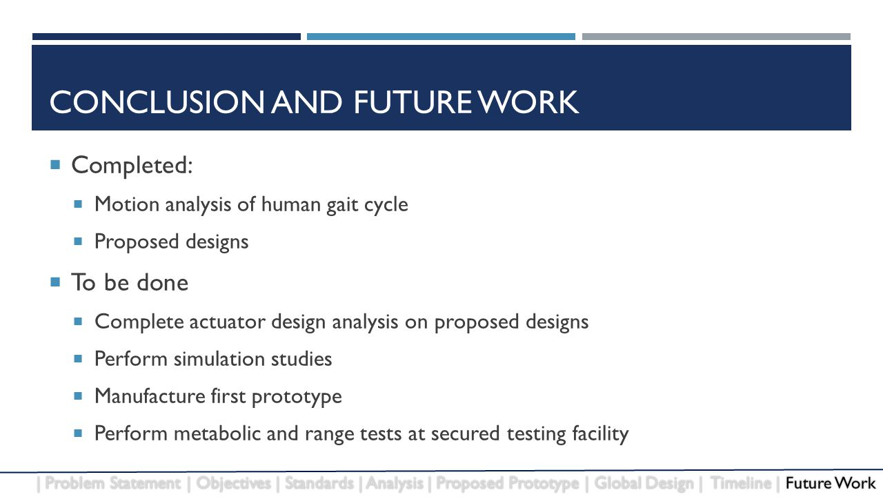 CONCLUSION AND FUTURE WORK  Completed:  Motion analysis of human gait cycle  Proposed designs  To be done  Complete actuator design analysis on proposed designs  Perform simulation studies  Manufacture first prototype  Perform metabolic and range tests at secured testing facility