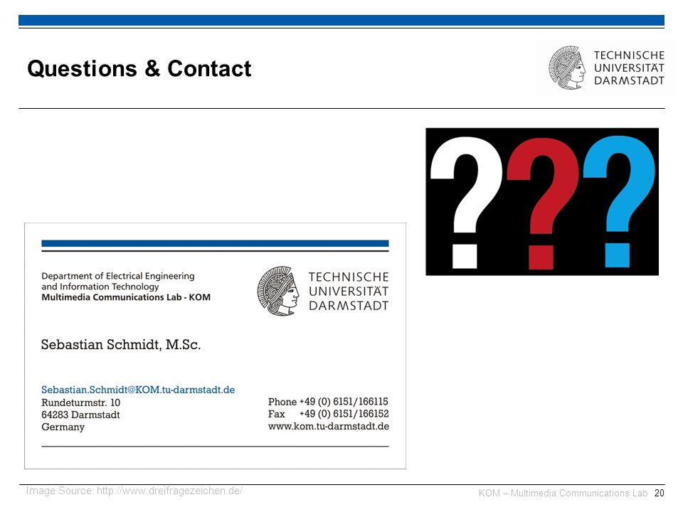 KOM – Multimedia Communications Lab20 Questions & Contact Image Source: http://www.dreifragezeichen.de/