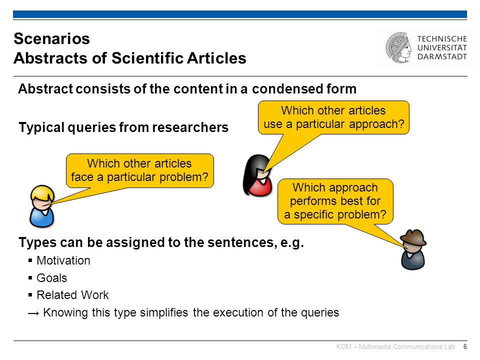 KOM – Multimedia Communications Lab6 Abstract consists of the content in a condensed form Typical queries from researchers Types can be assigned to the sentences, e.g.