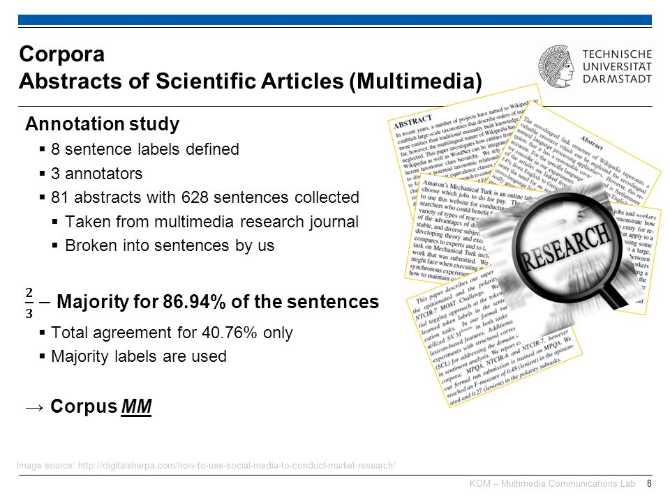 KOM – Multimedia Communications Lab8 Corpora Abstracts of Scientific Articles (Multimedia) Image source: http://digitalsherpa.com/how-to-use-social-me