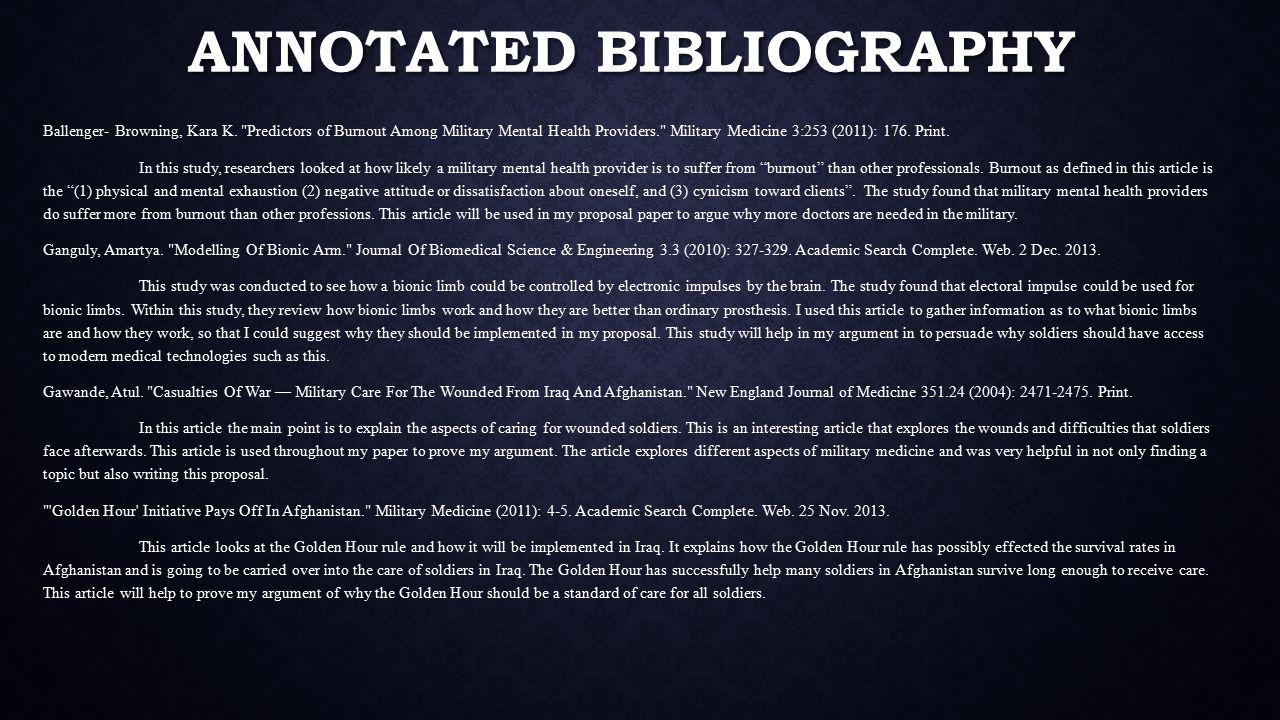 ANNOTATED BIBLIOGRAPHY Ballenger- Browning, Kara K.