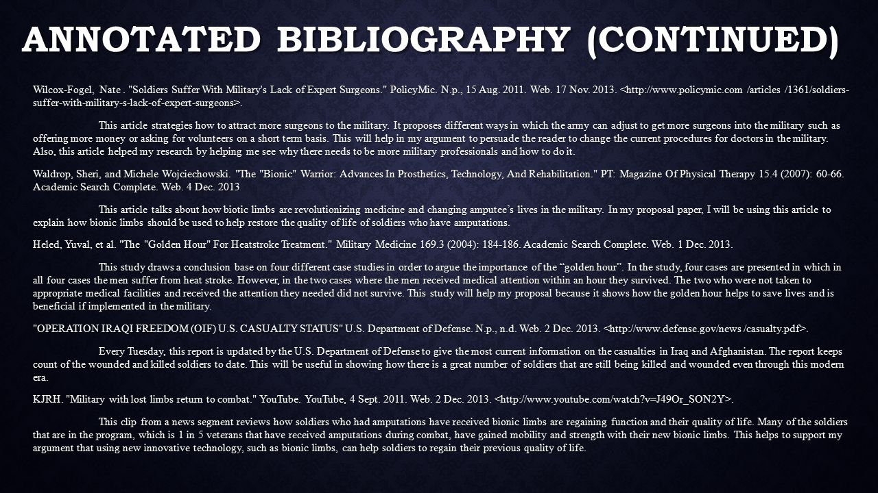 ANNOTATED BIBLIOGRAPHY (CONTINUED) Wilcox-Fogel, Nate.