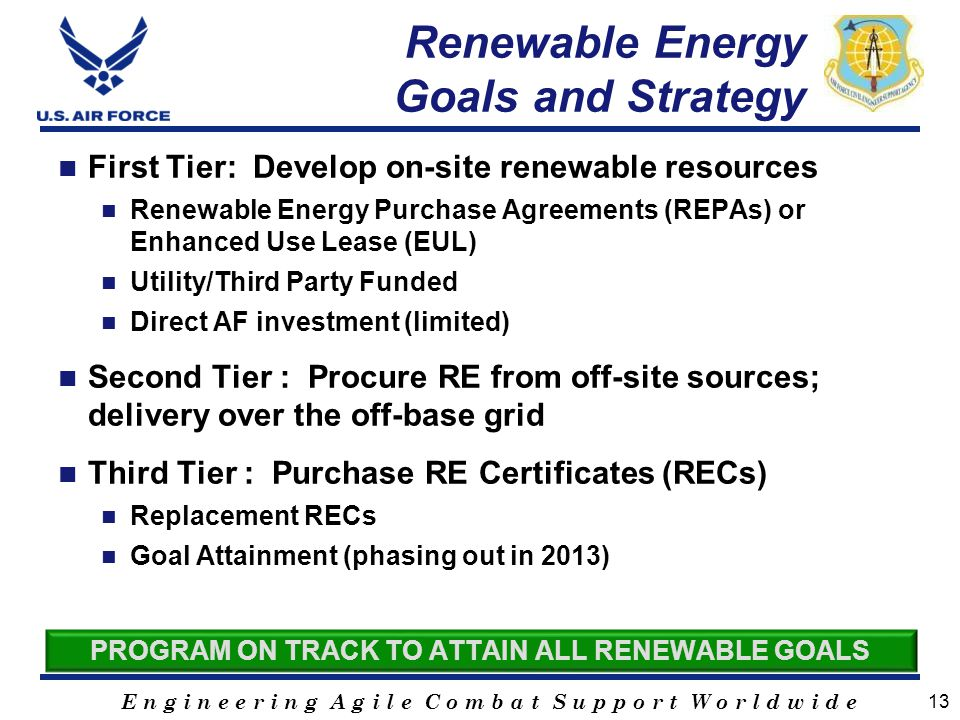 E n g i n e e r i n g A g i l e C o m b a t S u p p o r t W o r l d w i d e Renewable Energy Goals and Strategy First Tier: Develop on-site renewable