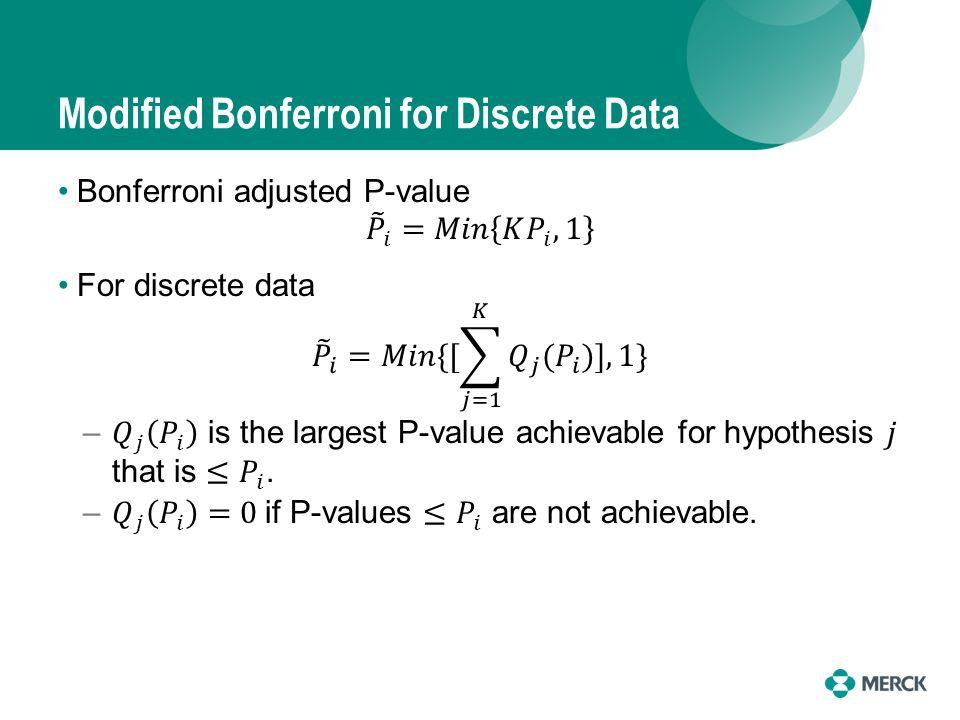Modified Bonferroni for Discrete Data