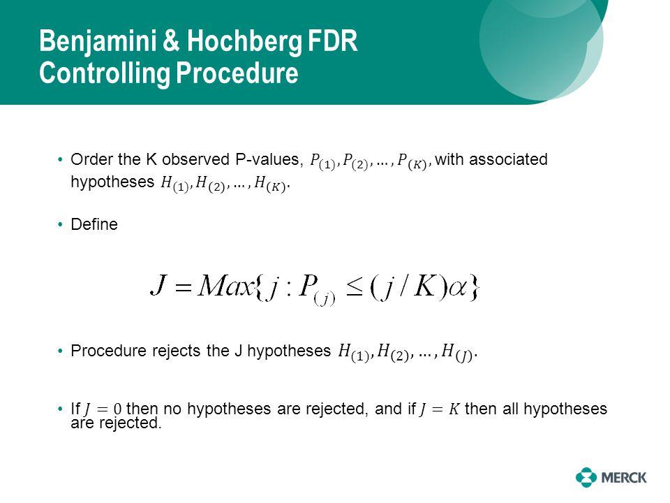 Benjamini & Hochberg FDR Controlling Procedure