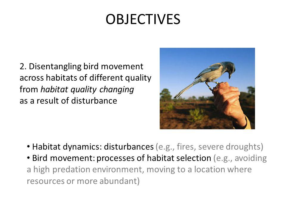 2. Disentangling bird movement across habitats of different quality from habitat quality changing as a result of disturbance Habitat dynamics: disturb